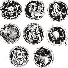 круглые тату с животными векторное изображение Rorius 23164046