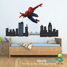 spiderman city scene wall sticker