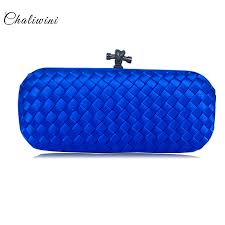 <b>Chaliwini</b> New Ribbon Flap Wallet <b>Women</b> Hand <b>Bag</b> Satin Blue ...