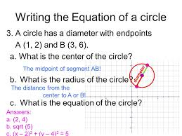 writing the equation of a circle 12 finding