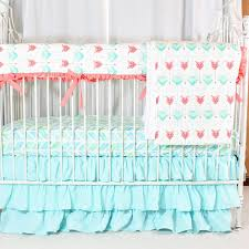emmas yellow and pink fl baby bedding set jack jill boutique aqua c watercolor herringbone crib