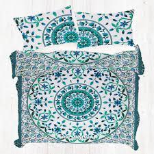 sky blue and dark green king size mandala duvet cover set