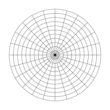 Polar Grid Of 10 Concentric Circles And 45 Degrees Steps
