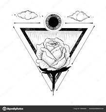 очерк о красивой розы и треугольник на белом фоне иллюстрация руки