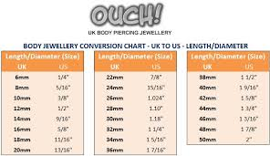 Body Jewelry Measurement Chart Choosing The Correct Size Of Body Piercing Jewellery