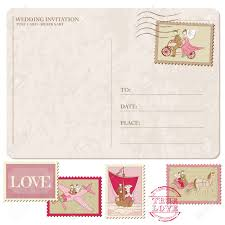 wedding invitation vintage postcard with postage stamps for Wedding Invitation Postcard Vector wedding invitation vintage postcard with postage stamps for design and scrapbook stock vector vector and psd - wedding invitation postcard