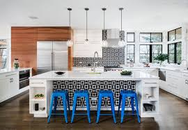 the geometric black and white kitchen wall tiles used on the kitchen island tie everything together and add some much needed pattern in this kitchen that