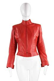jean claude jitrois bright red café racer style lambskin leather jacket for 2