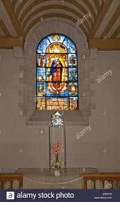 Stained Glass Window Of Virgin Mary With Modern Art Coloured