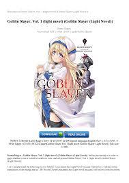 App To Read Japanese Light Novels Goblin Slayer Vol 1 Light Novel Goblin Slayer Light Novel By