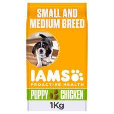 Iams Dog Food Puppy Junior Small Medium Chicken 1kg Tesco