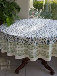 moonlit taj turquoise elegant fl round indian tablecloth