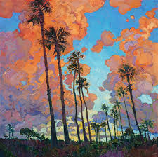 san go palms oil painting for investment art by modern impressionist painter erin hanson