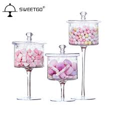 Decorative Glass Candy Jars slim tall Transparent Glass candy jar with Wedding dessert 61