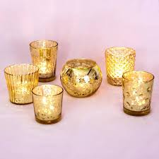 mercury candle votives set of 6 gold glass holders candles silver votive