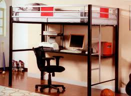 black and white metal loft bunk bed with long computer desk underneath