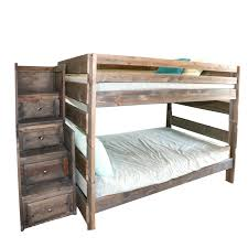 Contemporary Distressed Wooden Full-Size Bunk Bed Frame