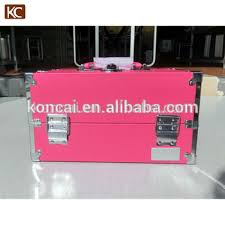 new design pvc fancy storage bo aluminum makeup box with shoulder strap make up beauty