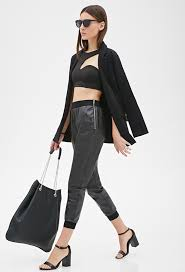 forever 21 zippered faux leather joggers 19 forever 21 lookastic com
