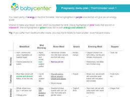 Food Chart For Pregnancy Week By Week Pregnancy Meal Planners Trimester By Trimester Babycenter