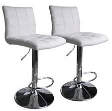 Leopard Square Back Adjustable Swivel Bar StoolsPU Leather Padded With Back  Set Of Leather Bar Stools Back S63