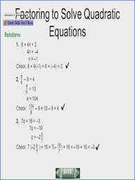 solving quadratic equations factoring worksheet answers slide 2