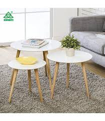 homury coffee table round set of 3 end side table wood nesting corner table sofa table tea table white