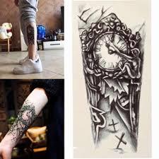 черный 3d сексуальная поддельная переводная татуировка нагрудное тату с часами