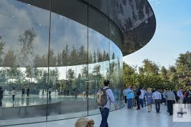 apple park workers are walking into