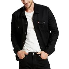 levi s men s trucker jacket polished black color black 788427188169376176