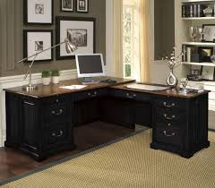 black l shaped home office desk