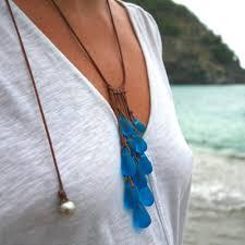 sea gl drops necklace handmade beach gl jewelry from st barth island bohemian