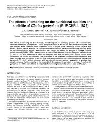 the effects of smoking on the nutritional qualities and shelf life  the effects of smoking on the nutritional qualities and shelf life of clarias gariepinus burchell 1822 pdf available