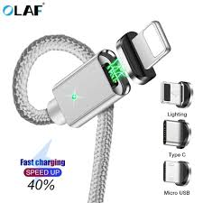 <b>OLAF</b> 2M <b>3A</b> Magnetic Cable Quick charge 3.0 <b>Micro USB</b> Charger ...