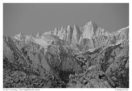 whitney black white. Black And White Picture/Photo: Alabama Hills Mt Whitney, Dawn. Sequoia National Park Whitney
