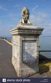 lion statue on egypt esplanade cowes isle of wight uk stock image