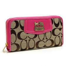 Coach Logo In Signature Large Pink Wallets BFV