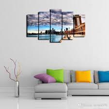 2019 5 panels chicago city landscape modern abstract canvas oil painting print wall art decor for living room home decoration from eternal996