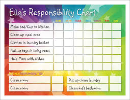 Responsibility Chart Responsibility Chart Kids Schedule