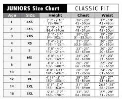 junior size junior size chart c skins