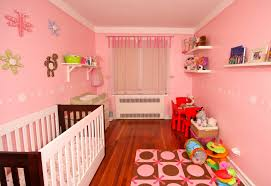 BedroomWooden Crib With Purple Bedding Combining The Wooden Floor Pinky Baby  Room With Simple