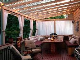 T Exteriors  Outdoor Wooden Deck With Pergola Porch Awning Ideas And White  Sheer Curtains Cover Also Amazing Bulb Ceiling Light Important Things Related To