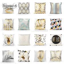 <b>Fuwatacchi</b> Gold Stamping <b>Geometric Cushion</b> Covers <b>Stripe</b> Gold ...