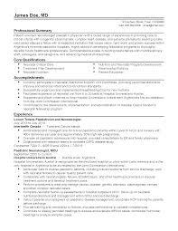 Resume For Pediatrician Professional Neonatologist Pediatric Physician Templates To