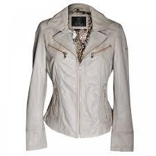 rino pelle women s long sleeve cream leather jacket