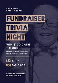 trivia night flyer templates fundraiser trivia night template with young boy in glasses in background