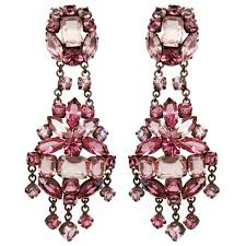 large rose coloured venetian glass crystals clip on earrings