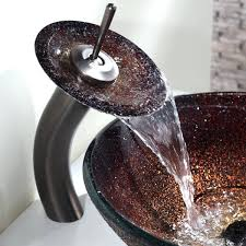 waterfall faucets for vessel sinks c glass vessel sink and waterfall faucet oil rubbed bronze waterfall bathroom faucet vessel sink