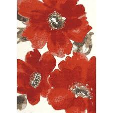 5 x 8 medium fl red and brown area rug poppy rugs view chain stitched poppies rug