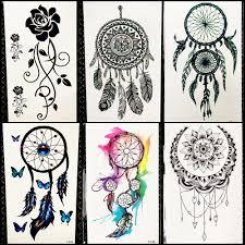 černá Henna Dreamcatcher Dočasné Tetování Nálepka ženy Tribal Peří